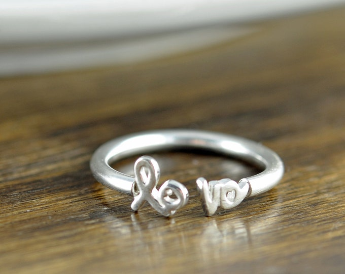 silver love ring, silver rings for women, adjustable ring, stacking rings, statement rings, gift for her, valentines day, romantic jewelry