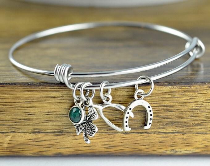 Lucky Charm Bracelet - Luck Bracelet - Four Leaf Clover Bracelet - Good Luck Charm - Good Luck Gift - Best Friend Gift - Wishbone Bracelet