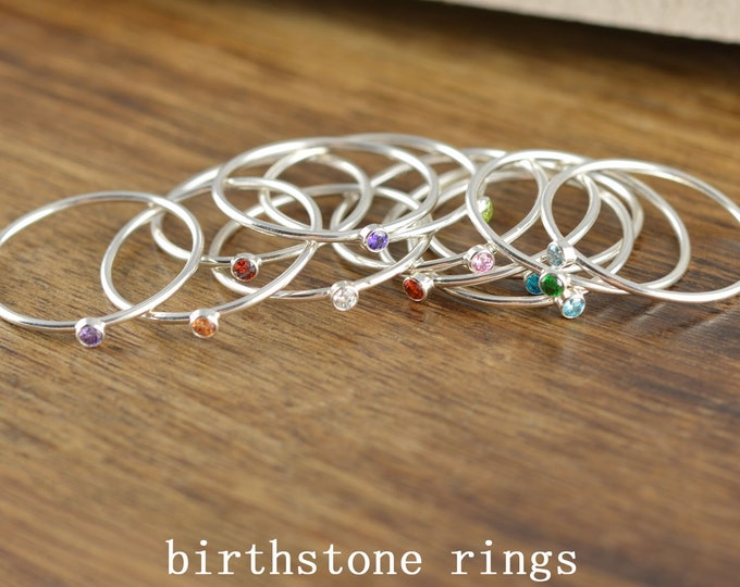 Birthstone Stacking Rings, Birthstone Ring, Birthstone Jewelry, Dainty Birthstone Ring, Minimal Ring, Stacking Ring, Gift for Her