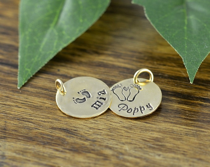 14 kt Gold Filled Name Charm, Personalized Name, Add A Charm, Hand Stamped Gold Filled Disc,Add On