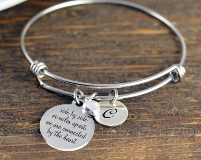 Side by side or miles apart bracelet, Sisters Gift, Gift for Sister, Sister Bracelet, Best Friend Jewelry, Sister Jewelry