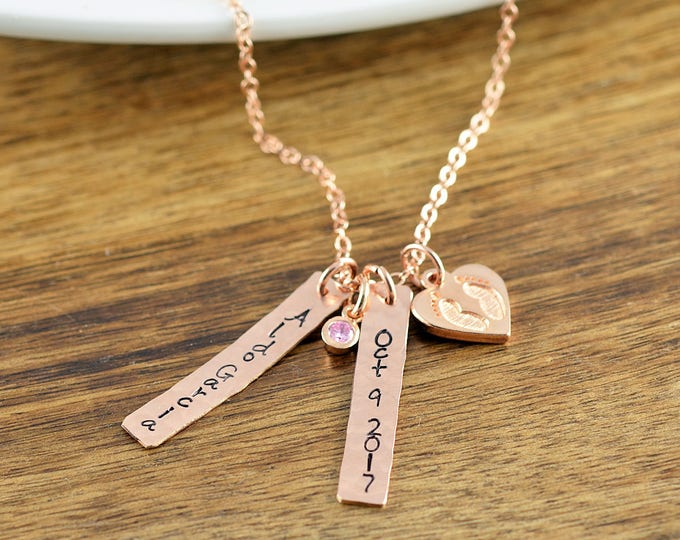 Rose Gold Baby Name Date Necklace, Mommy Necklace, New Mom Gift, Baby Birth Necklace, Mommy and Me, Personalized Baby Name Necklace