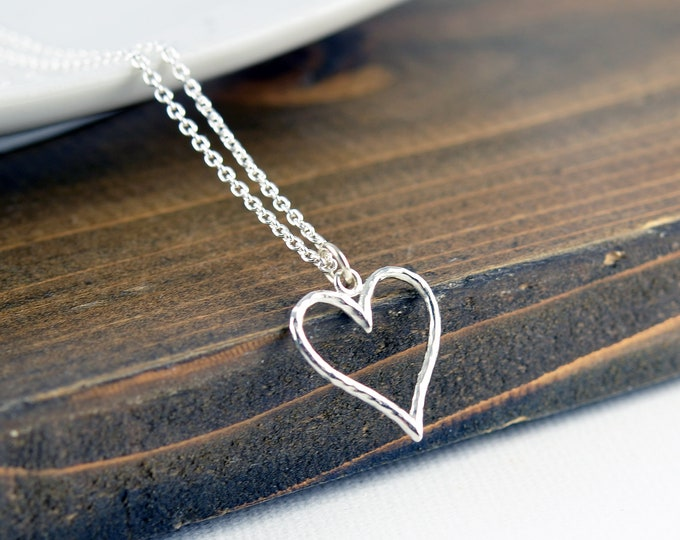 Sterling Silver Heart Necklace, Gift for Wife, Jewelry Gift for Her, Heart Jewelry, Gift under 30, Mother's Day Gift, Gift for Girlfriend