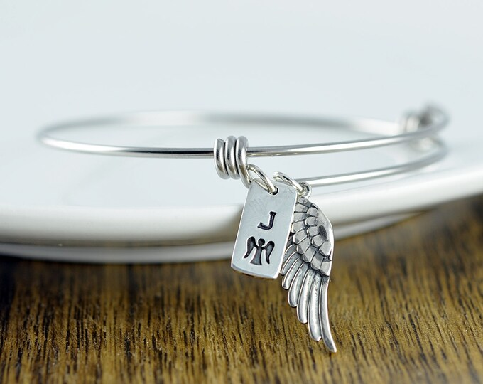 Personalized Memorial Gift Idea Sympathy Gift - Angel Wing Bracelet - Remembrance Jewelry - Personalized Bracelet - Initial Bracelet - Gift