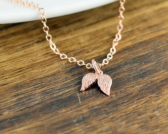 Rose Gold Wing Necklace, Sympathy Necklace, Memorial Necklace, Memorial Jewelry, Remembrance Gifts, Loss Gift, Loss of Loved One
