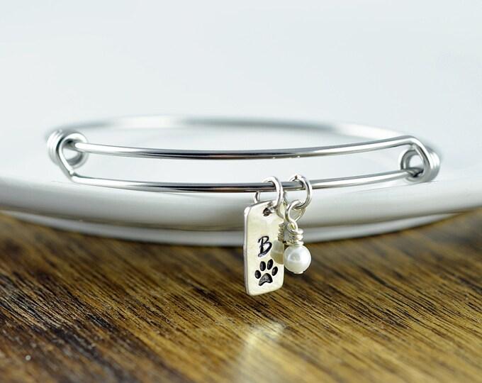 Dog charm bracelet, dog lover bracelet, dog paw charm bracelet, dog lover gift, animal lover gift, initial necklace, gift for her