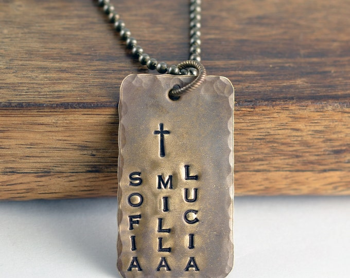 mens dog tag necklace - hand stamped tag necklace - personalized mens necklace - mens necklace - mens jewelry - fathers day gift