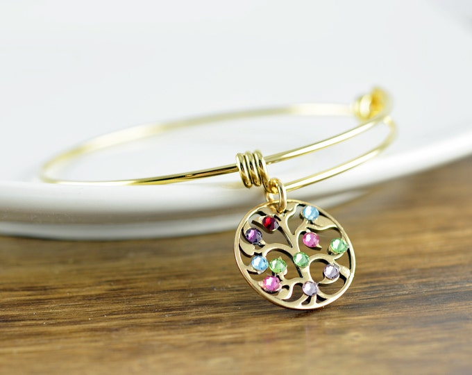 Gold Family Tree Bracelet - Mother's Bracelet - Birthstone Bracelet - Birthstone Jewelry - Grandmother Bracelet - Mothers Day Gift