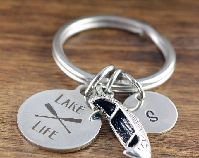 Lake Life -  Engraved Keychain - Personalized Keychain - Lake Lovers - Canoe Boat - Gift Idea For Nature Lover - Outdoor Lover Gift