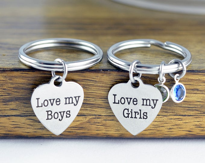 I love my girls or I love my boys Keychain - Mother and Son Gift, Mothers Jewelry, Mothers Day Gift, Mothers Keychain, Engraved Keychain