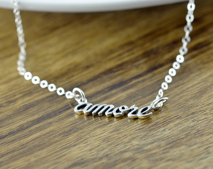 script name necklace, amore necklace, amore script necklace, script necklace, bridesmaid jewelry, valentines day, gift idea, gift for her