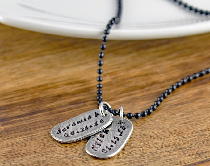 Fathers Day Gift, Personalized Mens Necklace, Mens Gift, Mens Jewelry, Dad Gift, Gift for Men, Gift for Dad, Tag Necklace for Men