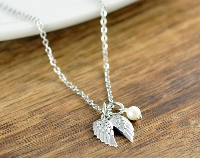 Angel Wings Necklace, Wing Necklace, Sympathy Necklace, Memorial Necklace, Memorial Jewelry, Remembrance Gifts, Loss Gift, Loss of Loved One