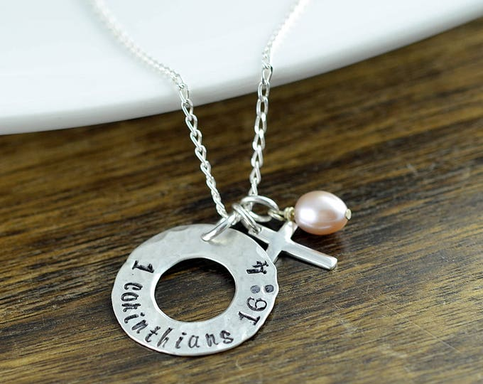 Sterling Silver Washer Necklace, Personalized Gift, Hand Stamped Gift, Corinthians, Religious Jewelry, Cross Necklace, Faith Jewelry