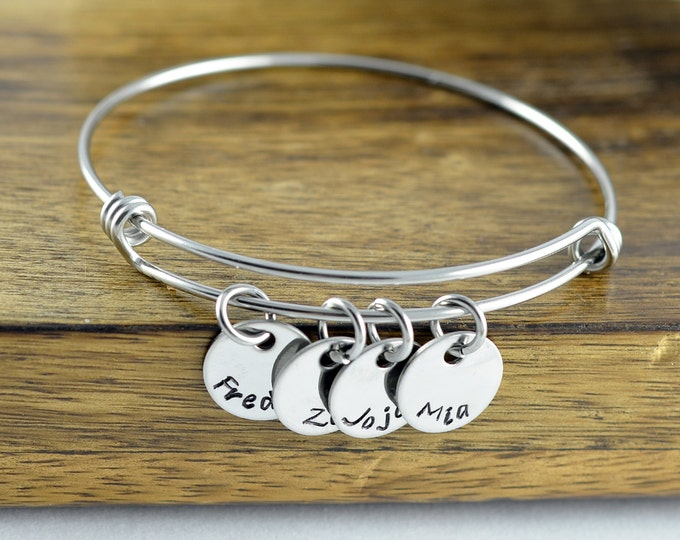 Personalized Bangle Bracelet - Mothers Jewelry - Mother Bracelet - Grandmother Gift - Mothers Bracelet - Name Bracelet - Mother's Gift