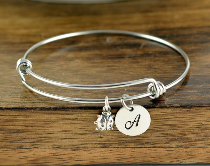 Personalized Lady Bug Bangle Bracelet, Silver Lady Bug Bracelet, Initial Bracelet, Ladybug Birthday, Lady Bug