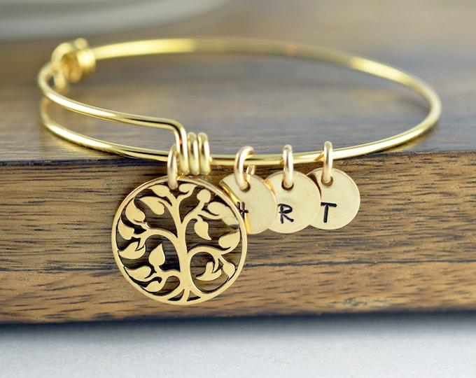 gold family tree bangle bracelet - tree of life bracelet -  family tree jewelry - grandmother gift - gifts for mom - mom gift