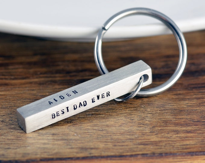 Custom Bar Keychain, Personalized Fathers Day Gift, Best Dad Ever, Gift for Dad, Mens Personalized Keychain, Bar Keychain, Kids Names