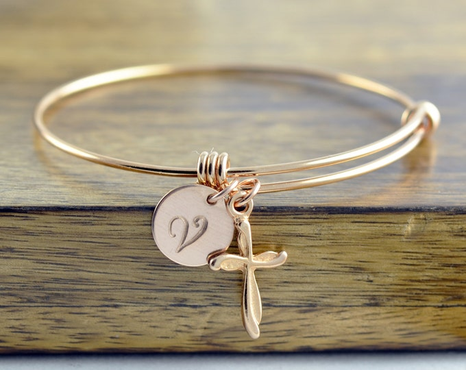 Rose Gold Cross Bracelet -Personalized Initial Bracelet, Personalized Hand Stamped Bracelet, Rose Gold Jewelry, Cross Bracelet, Gift for Her