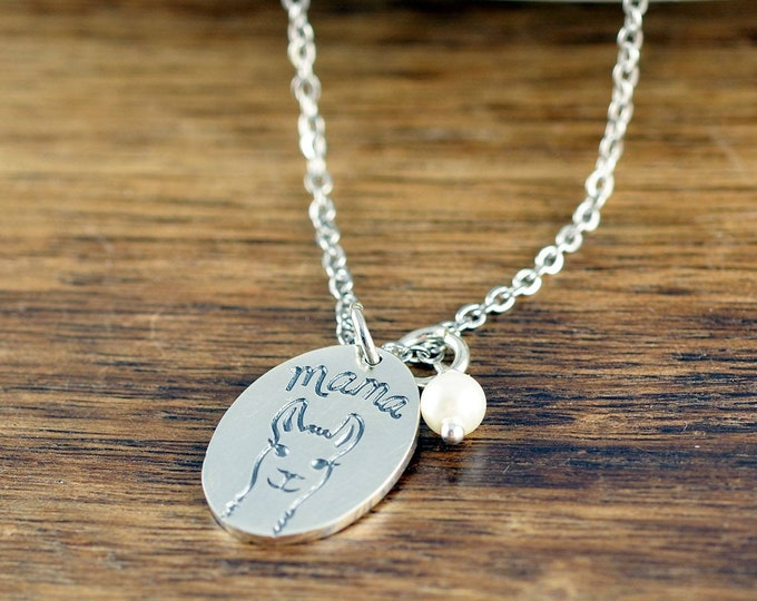 LLama Mama necklace, women's charm necklace, mom necklace, mom gift, gift for mom, Christmas gift for wife