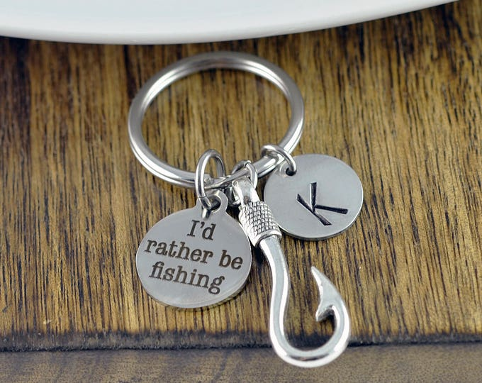 Engraved Keychain - I'd Rather Be Fishing - Fathers Day Fishing - Fishing Keychain - Fish Hooks - Fisherman Gift - Personalized Keychain