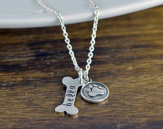 Dog Bone Necklace, Dog Bone Charm, Dog Mom Gift, Dog Paw Charm, Dog Charm Necklace, Dog Lover Necklace,Dog Lover Gift, Animal Lover Gift