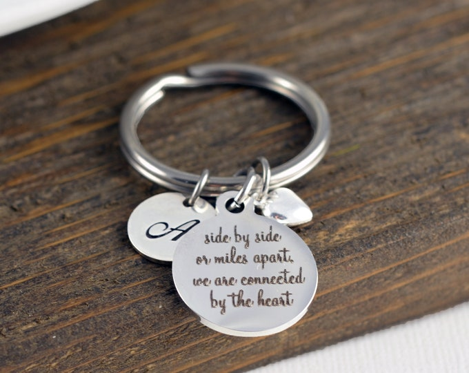 Side by side or miles apart keychain, Keyring For Sisters, Sisters Gift, Gift for Sister,Sister Keychain, Best Friend Jewelry