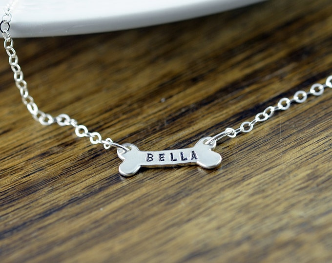Dog bone necklace personalized with dog name. pet jewelry gift for her, hand stamped, silver jewelry, sterling silver dog necklace