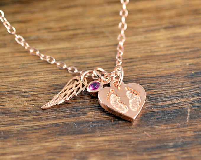 Rose Gold Necklace, Baby feet Necklace, Memorial Necklace, Memorial Jewelry, Remembrance Gifts, Baby Loss Gift, Miscarriage Remembrance