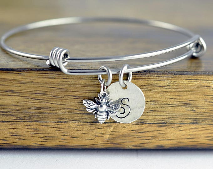 Initial Bracelet Sterling Silver, Initial Bee Bracelet, Bumblebee Jewelry, Bumble Bee Charm Bracelet, Bridesmaid Gift, Best Friends Gift