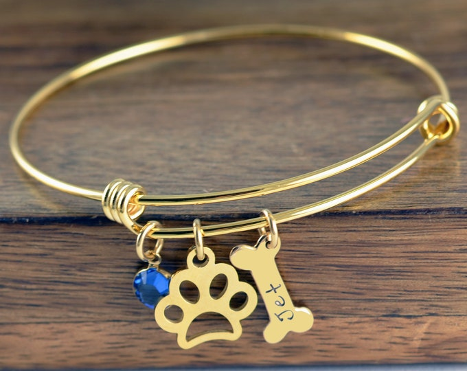 Dog Bangle Personalized,Paw Print Bangle, Pet Bangle, In Memory Of Dog, Pet Memorial Jewelry, Memorial Jewelry, Dog Bone Bracelet