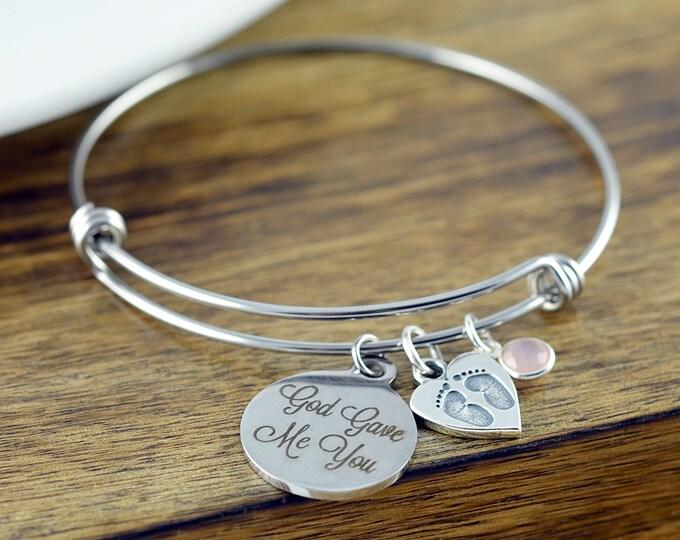 God Gave Me You Bracelet - Silver Bracelet - Grandma - Mothers Day - Baby Child Children - Gift for Grandma - Gift for Mother