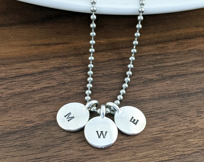 Mens Initial Necklace - Mens Pewter Necklace - Anniversary Gift - Boyfriend Gift - Husband Gift - Custom Initial Necklace- Mens Jewelry