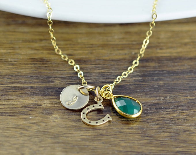 Hand Stamped Gold Initial Necklace, Emerald Necklace, Gold Horse Shoe Charm Necklace, Horse Lover Necklace, Equestrian, Horseshoe Jewelry