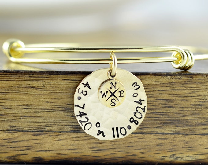 Gold Coordinate Bracelet, Coordinate Jewelry, GPS Coordinates, Coordinates Gift, Coordinate Bracelet, Friend Gift, Christmas Gift for Her