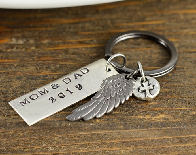 Keychain for Boyfriend, Loss of Mother, Loss of Father, personalized memorial keychain, sympathy gift, remembrance gifts, bereavement gift