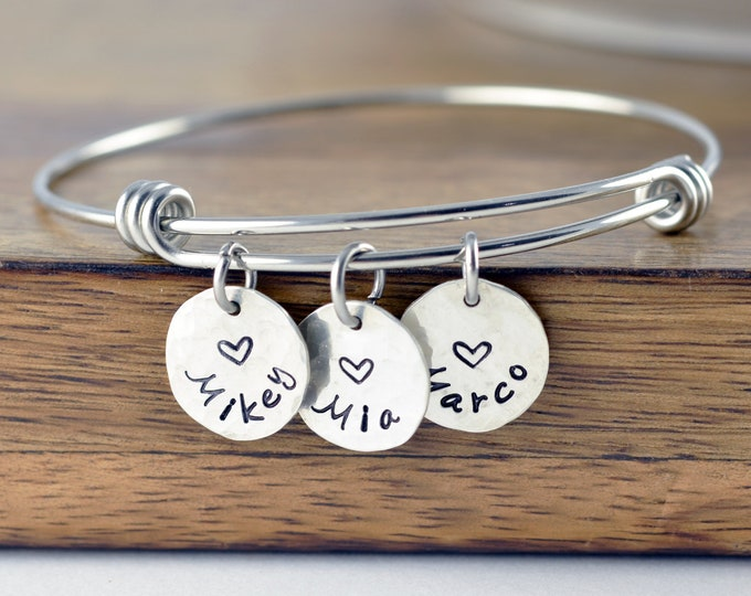 Gift for Wife, Gift for Women Birthday, Personalized Gift, Silver Bracelet, Mother's Bracelet, Mom Jewelry, Kids Name Jewelry, Gifts for Mom