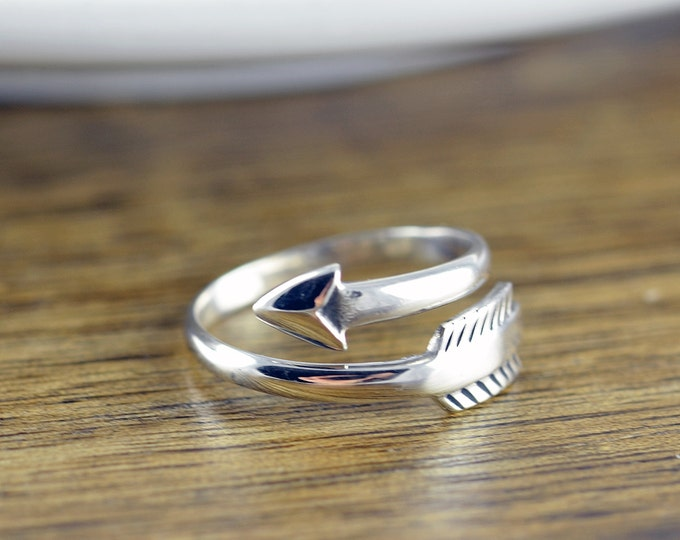 Silver Arrow Ring - Sterling Silver Arrow Love Ring - Double Wrap Adjustable Arrow Ring -  Silver Wrap Ring - Bypass Arrow Ring - Boho Ring
