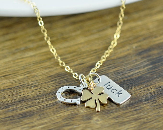 Lucky Charm Necklace - Luck Necklace - Luck Of The Irish- Good Luck Charm - Good Luck Gift - Multi Charm Necklace - Mixed Metal Necklace