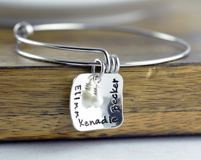 Personalized Sterling Silver Bangle Bracelet, Name Bracelet, Personalized Jewelry Gift, Hand Stamped Gifts, Pearl Jewelry, Gift for Her