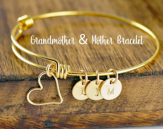 Gold Initial Bracelet, Mother's Bracelet, Grandma Bracelet, Family Bracelet, Gift for Her, Mothers Day Gift for Grandma, Mothers Day Jewelry