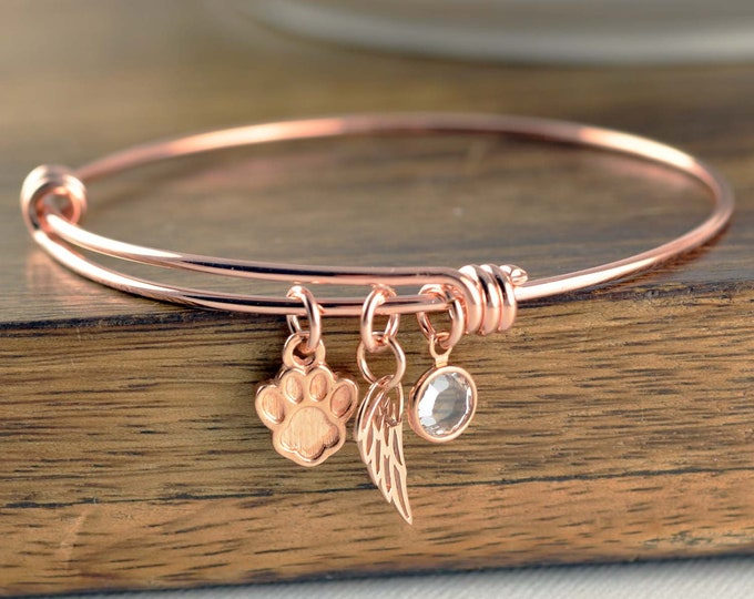 Rose Gold Dog Bracelet, Pet Jewelry, Animal Lover Bracelet, Pet Charm Bracelet, Dog loss Gift, Pet Memorial Bracelet, Pet Loss Bracelet