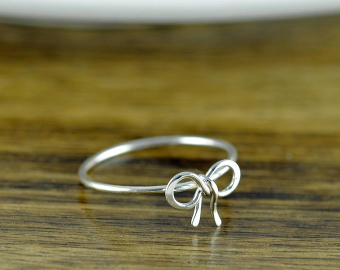 Sterling Silver Tiny Bow Ring, Stacking Ring, Statement Rings, Wire Wrapped Ring, Bow Ring, Forget Me Knot, Bow Tie Jewelry