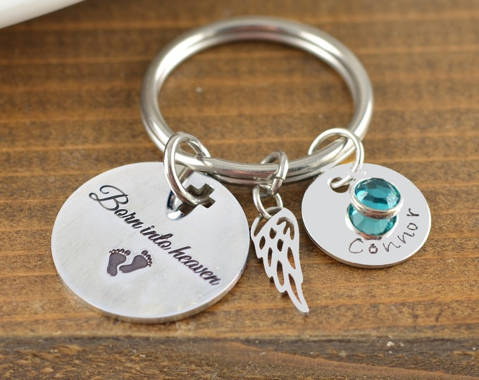 Miscarriage Keychain, Born into Heaven, Loss Keychain, Infant Loss Gift, Stillborn Jewelry, Baby Memorial, Miscarriage Keepsake, Baby Loss