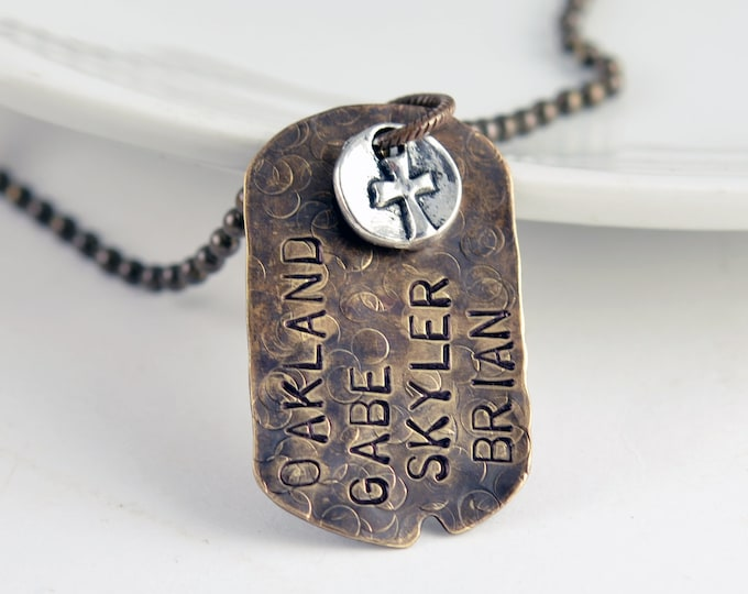 Necklace for Men, Personalized Dog Tag Necklace, Cross Necklace, Hand Stamped Mens Necklace, Custom Mens Jewelry, Mens Gifts
