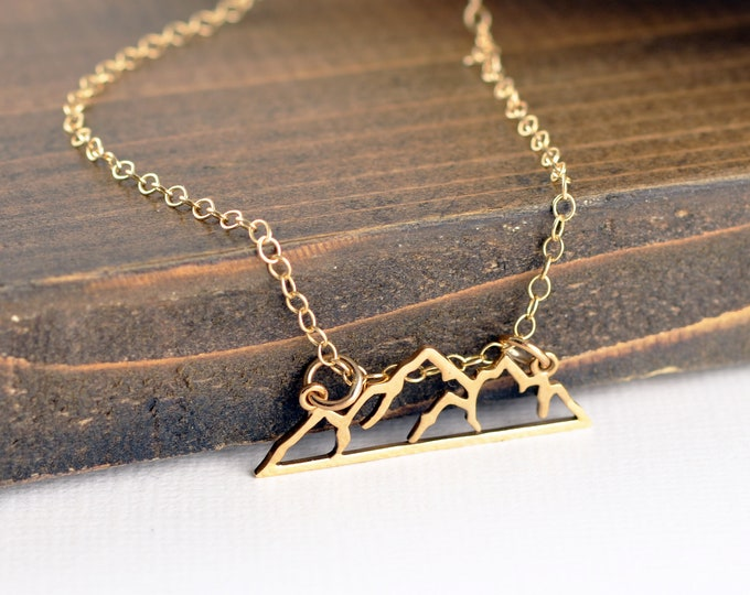 Gold Mountain Necklace, Mountain Necklace, Wanderlust Necklace, The Mountains Are Calling, Nature Lover Gift, Adventurer Jewelry, Outdoors