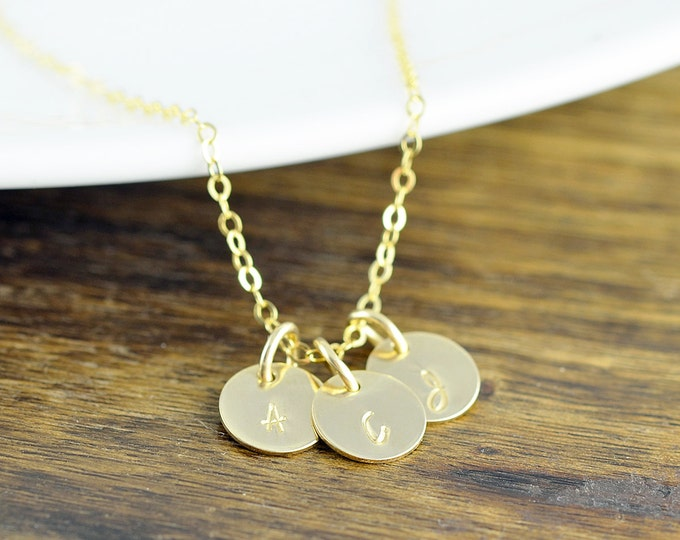 Gold Initial Necklace, Hand Stamped Necklace, Gold Initial Necklace, Gold Jewelry, 14 kt Gold Filled, Personalized Jewelry, Custom Necklace