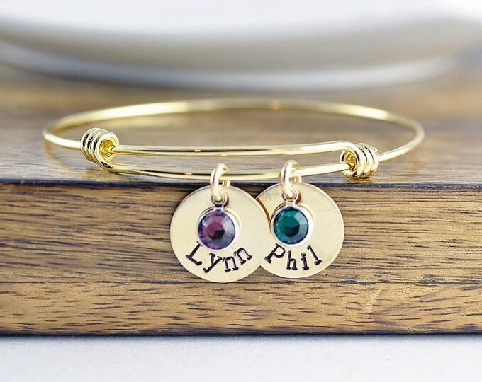 Mom Bangle Bracelet - Gold Bangle Bracelet - Hand Stamped Jewelry - Name Birthstone Bracelet - Family Bangle Bracelet Gift - Mothers Gift