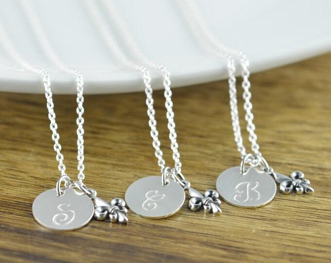 Fleur De Lis Necklace, Silver Initial Necklace, Bridesmaid Necklace Set, Bridesmaid Gift, Wedding Gift, Bridesmaid Gift, Bridesmaid Jewelry