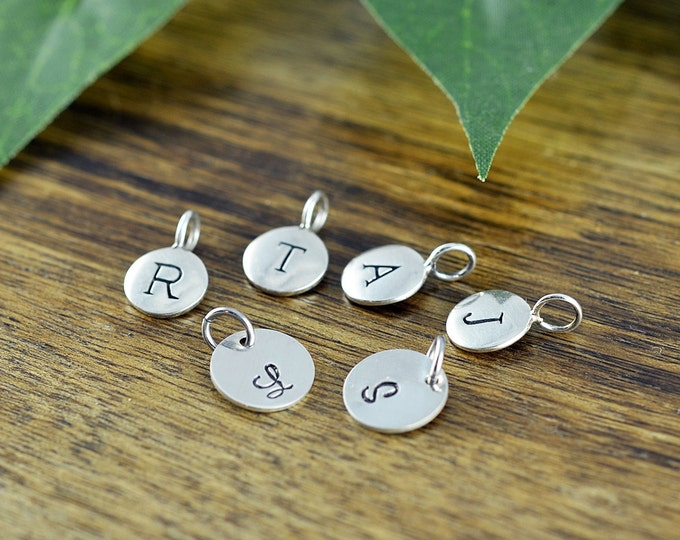 Sterling Silver Initial Charm, Personalized Initial, Add A Charm, Hand Stamped Sterling Silver Initial Disc